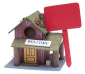 Small Farm Home with Red Sign — Stok fotoğraf