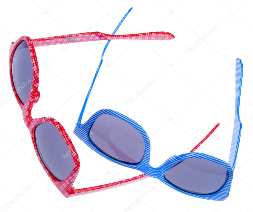 Pair of Trendy Hipster Sunglasses Isolated on White with a Clipping Path.  Stock Photo #2373343