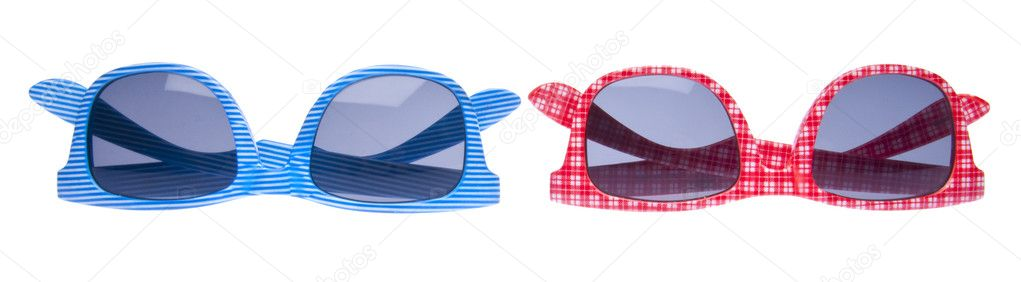 Pair of Trendy Hipster Sunglasses Isolated on White with a Clipping Path.   #2373351