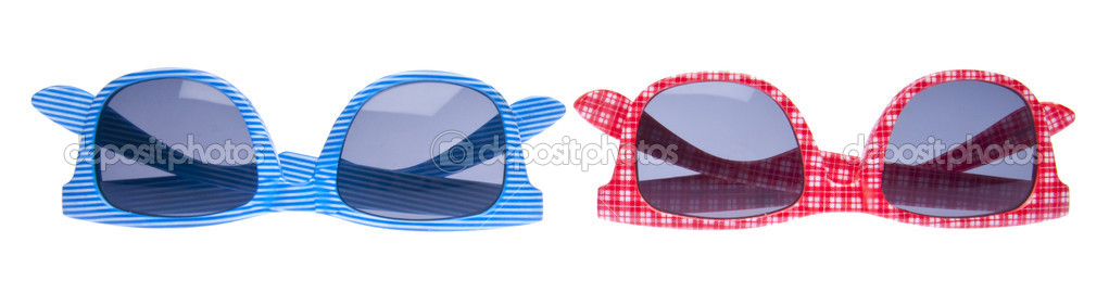 Pair of Trendy Hipster Sunglasses Isolated on White with a Clipping Path. — Photo #2373351