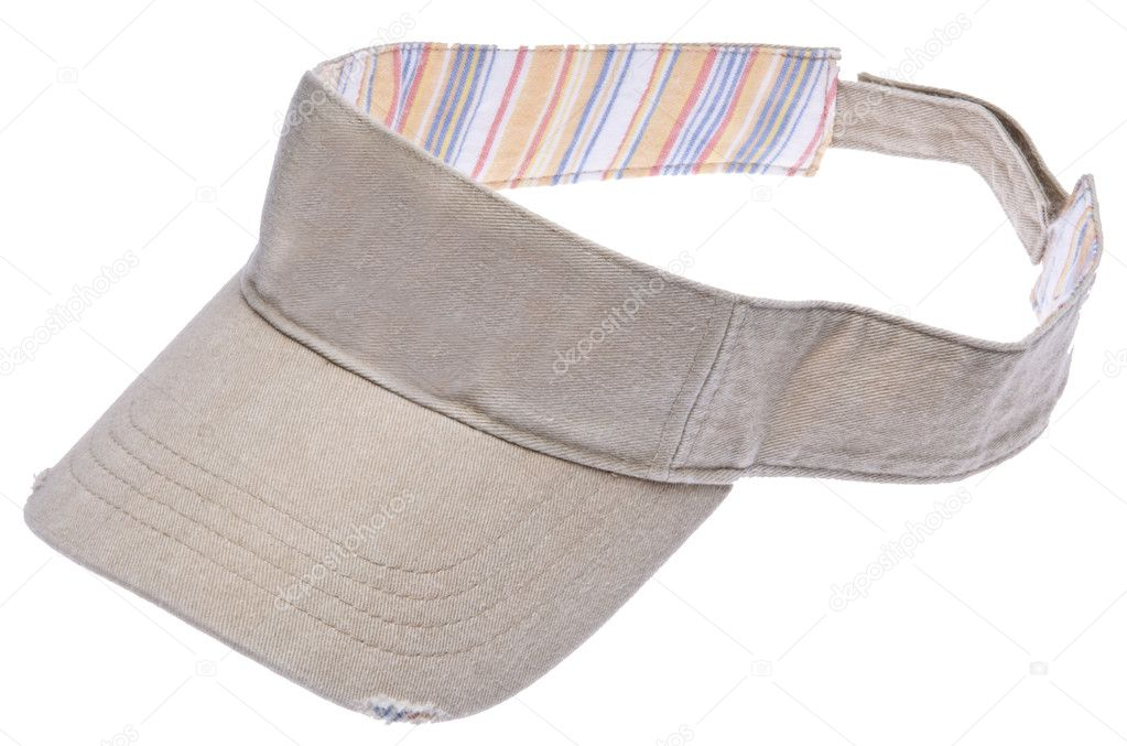 Sun Visor isolated on white with a clipping path.  Perfect for the beach of a game of golf.  Stock Photo #2373463