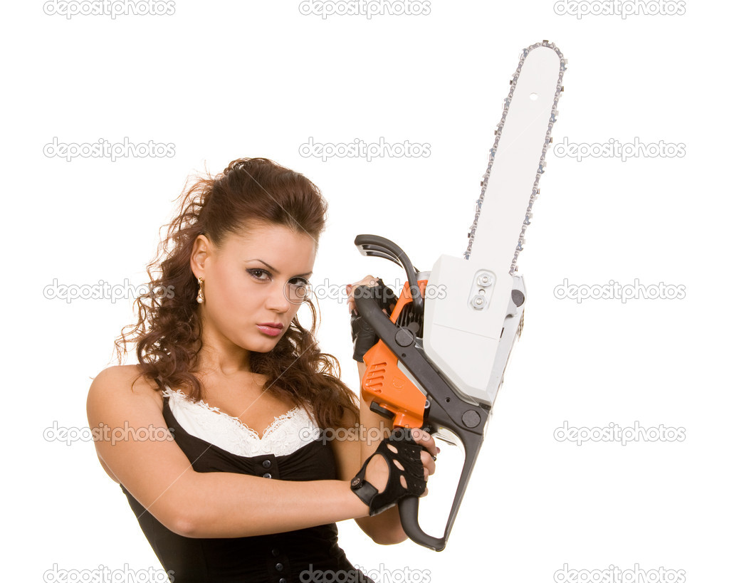 Young woman with motor saw on a white background — Stock Photo #1360212