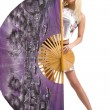 Woman with large fan — Stock Photo #1376974
