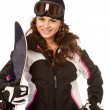Woman with snowboard — Stock Photo