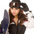 Woman with snowboard — Stock Photo #1377224