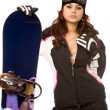Woman with snowboard - Stock Photo