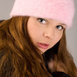 Woman in pink cap — Stock Photo