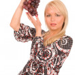 Woman with grapes — Stock Photo
