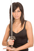 Woman with sword — Stock Photo