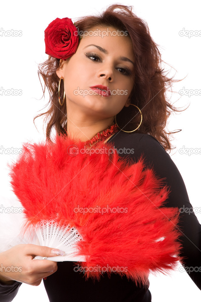 Young woman dressed as romany on white background — Stock Photo #1374693