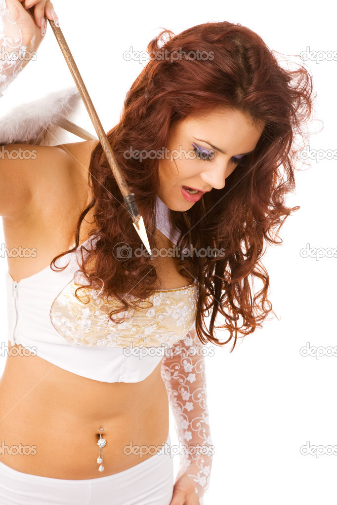 Sexy woman dressed as angel with arrow — Stock Photo #1376399