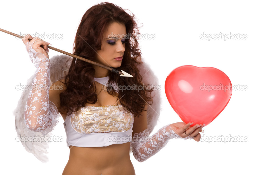 Sexy woman dressed as angel with arrow and red balloon — Stock Photo #1376735