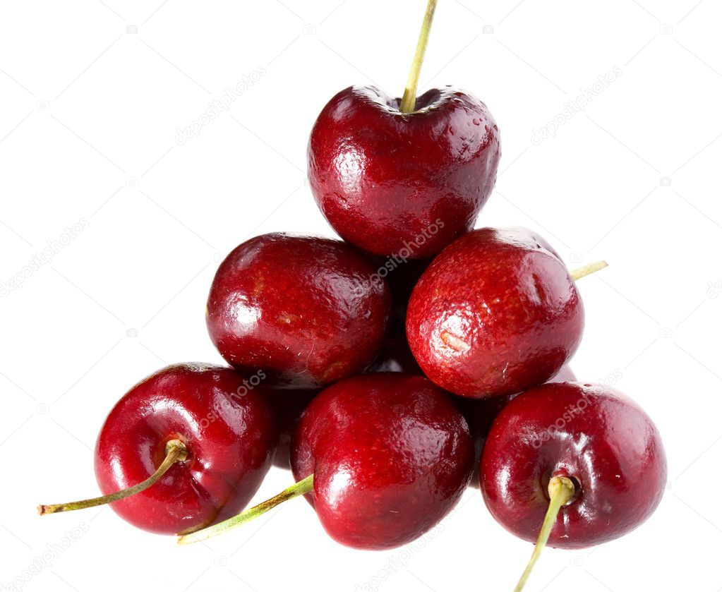 Heap of cherry isolated on white background  Stock Photo #1378837