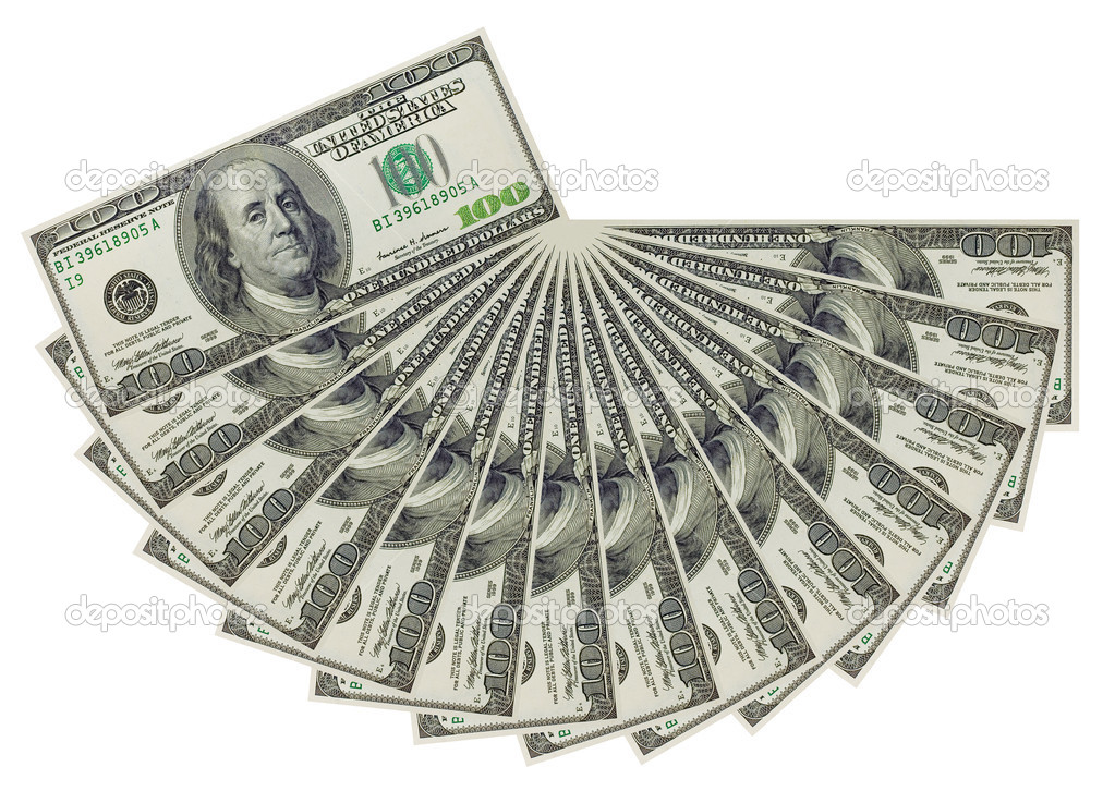 The hundred dollars banknotes isolated on white background — Stock Photo #1379038