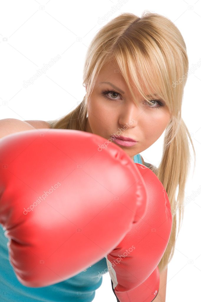 Girl with red boxing gloves on a white background — Stock Photo #1379342
