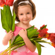 Girl with tulips — Stock Photo #1382612
