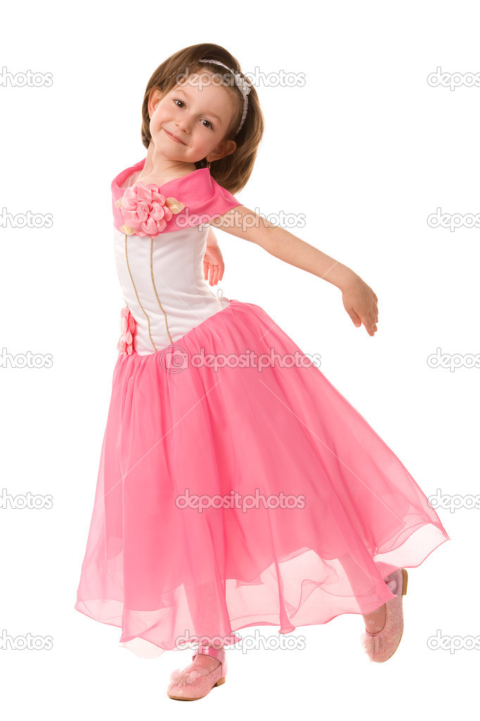 Little girl in pink dress on a white background — Stock Photo #1382588