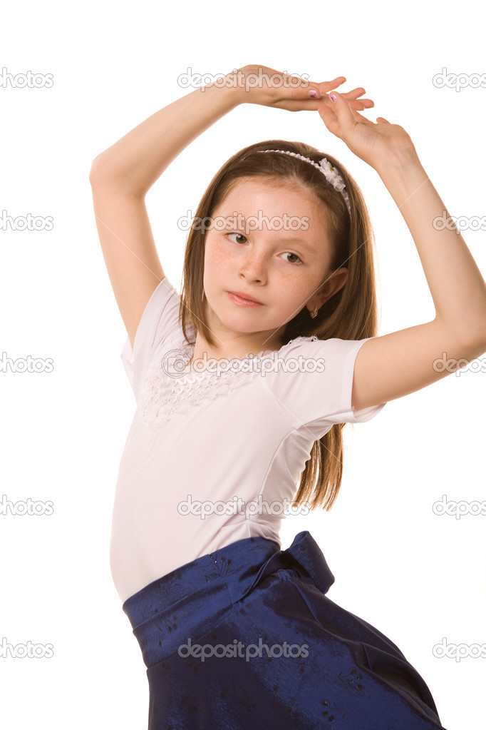 Portrait of dancing girl on a white background — Stock Photo #1382988