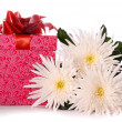 Beautiful flowers and gift box — Stock Photo