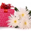 Stock Photo: Beautiful flowers and gift box