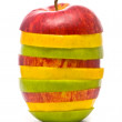 Sliced red, yellow and green apples — Stock Photo