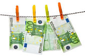 Euro banknotes on a rope — Stock Photo