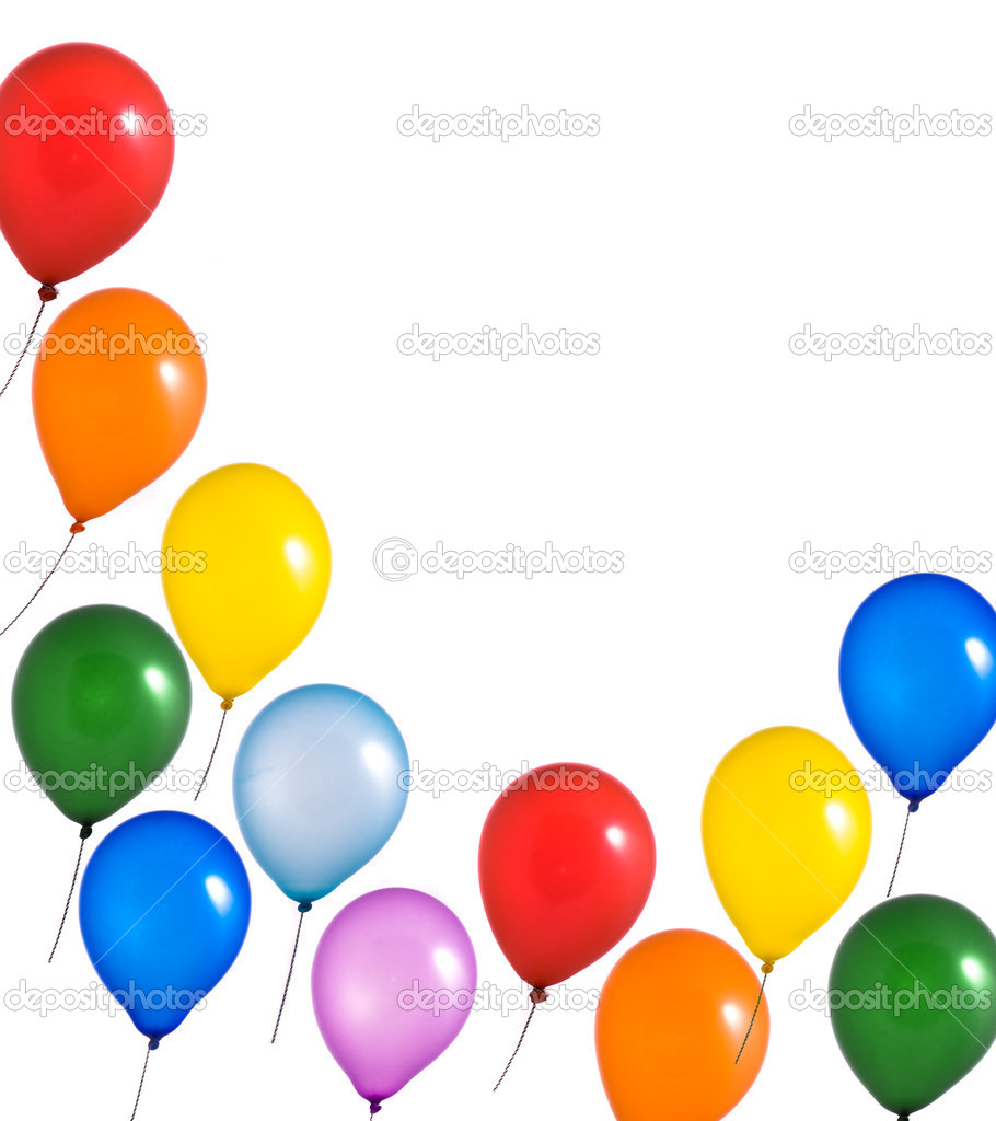 Multi color balloons on white background  Stock Photo #1380882