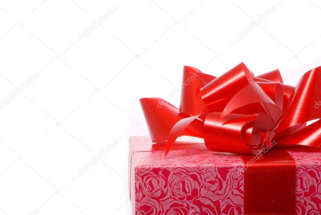 Macro shot of gift on white background — Stock Photo #1382146