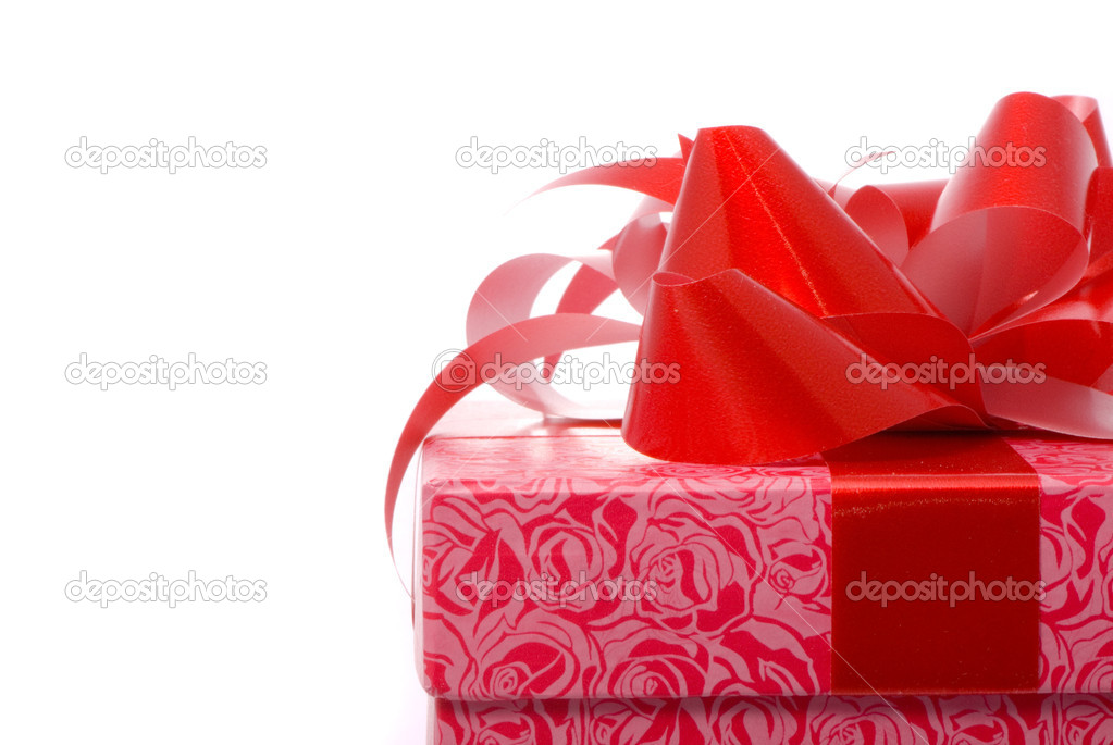 Macro shot of gift on white background  Stock Photo #1382419
