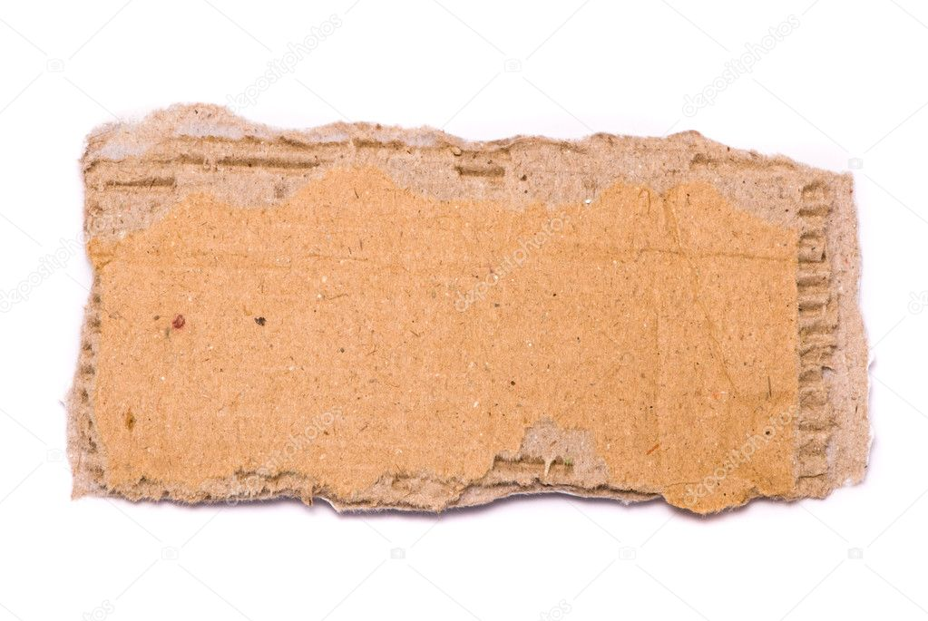Ripped piece of cardboard on white background  Stock Photo #1480836