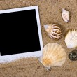 Photo frame with sea shells — Stock Photo