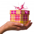Gift in woman hand, studio shot — Stock Photo