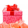 Beautiful Gladiolus and gift box — Stock Photo