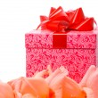 Beautiful gladiolus and gift box - Stock Photo