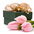 Royalty-Free Stock Photo: Pink tulips and gift box