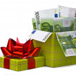 Money in gift box — Stock fotografie
