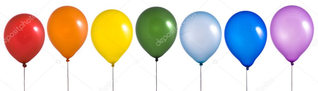 Rainbow balloons on white background — Stock Photo #1536135