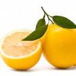 Lemon with fresh leaves — Stock Photo