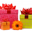 Stock Photo: Orange gerber flower and gift boxes