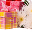 Gift boxes with beautiful flowers - Stock Photo
