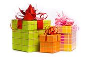 Three gift box studio shot — Stock Photo