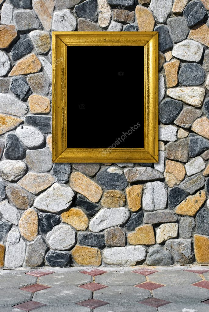 Golden frame on a beautiful stone background  Stock Photo #1791208