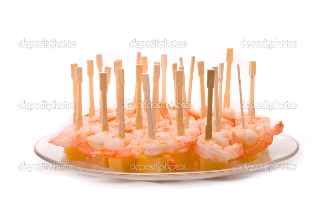 Canape with cheese and shrimp stock photo hintau for Canape with cheese