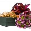 Gift box with beautiful flowers — Stock Photo
