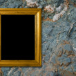 Stone background with gold frame — Stock Photo