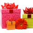 Red gerber flower and gift box — Stock Photo #1887807