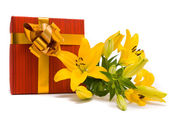 Yellow lily and gift box on a white — Stock fotografie