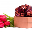 Red tulips and gift box — Stock Photo #2100008