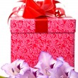 Royalty-Free Stock Photo: Beautiful gladiolus and gift box