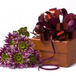 Gift box with beautiful flowers - Stock fotografie